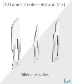 10 LAMES STERILES - Pour manche bistouri N° 3