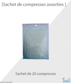 SACHET DE 20 COMPRESSES STÉRILES ASSORTIES