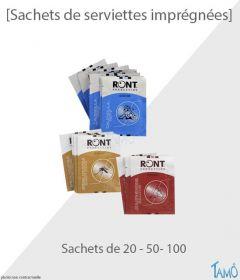 SACHETS DE SERVIETTES IMPRÉGNÉES ASSORTIES