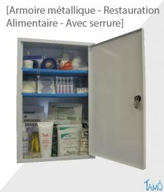 ARMOIRE METALLIQUE 1 PORTE AVEC SERRURE - RESTAURATION / ALIMENTAIRE - PLEINE
