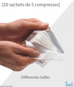 20 SACHETS DE 5 COMPRESSES - Tissées stériles