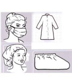 1 Kit visiteur : 1 charlotte, 1 masque, 1 blouse, 2 sur-chaussures