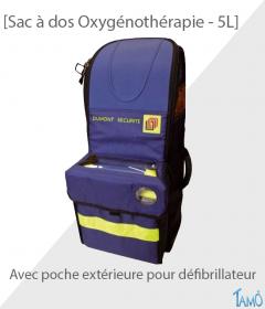 SAC A DOS OXYGENOTHERAPIE AVEC POCHE DEFIBRILLATEUR - 5 litres