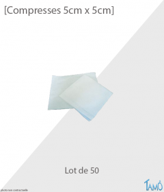 50 COMPRESSES TISSÉES STÉRILES  - 5cm x 5cm