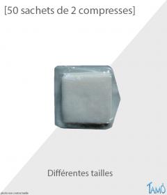 50 SACHETS DE 2 COMPRESSES - Tissées stériles