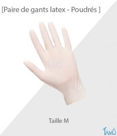 PAIRE DE GANTS LATEX POUDRES - Taille 7/8 - M