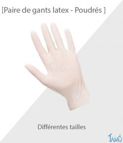 PAIRE DE GANTS LATEX POUDRES - Différentes tailles