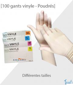 BOÎTE DE 100 GANTS VINYLE POUDRES - Différentes tailles