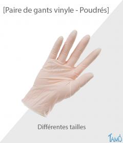 PAIRE DE GANTS VINYLE POUDRES - Différentes tailles