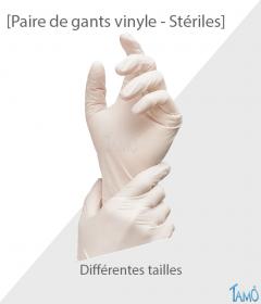 PAIRE DE GANTS VINYLE STERILES - Différentes tailles