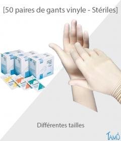 BOÎTE DE 50 PAIRES DE GANTS VINYLE STERILES - Différentes tailles