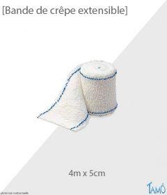 BANDE DE CRÊPE ELASTIQUE - Lisères bleues - 4m x 5cm