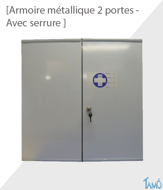 armoire metallique 2 portes avec serrure - vide